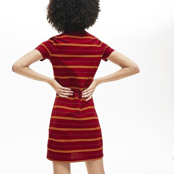 Women's Striped Mini Pique Polo Dress, BORDEAUX/ENZIAN, hi-res