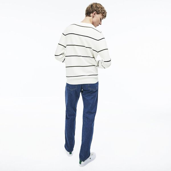 Men's Nautical Stripe Knit, FLOUR/NAVY BLUE/CAPER, hi-res