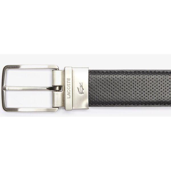 Men's Engraved Buckle Reversible Piqué Leather Belt, NOIR, hi-res