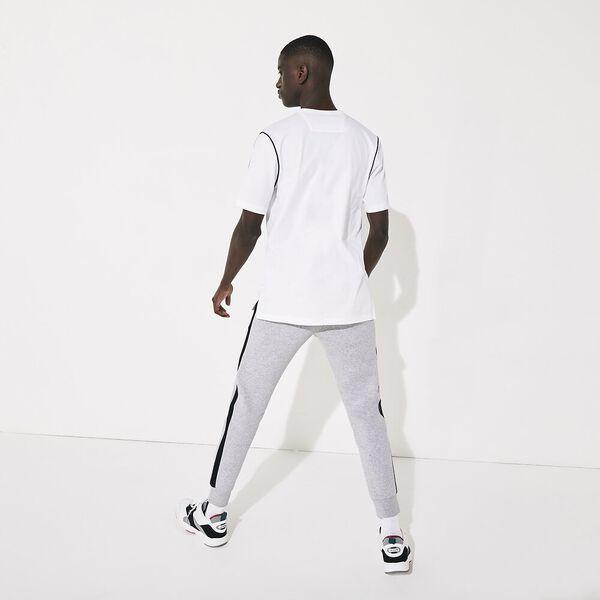 Men's SPORT Piped Cotton T-shirt, BLANC/NOIR-BLANC, hi-res