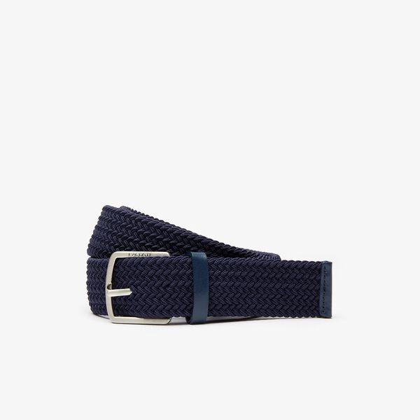 Men's Engraved Buckle Stretch Knitted Belt, DARK SAPPHIRE, hi-res