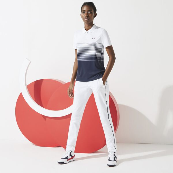 Women's SPORT French Sporting Spirit Zip Polo, WHITE/NAVY BLUE, hi-res