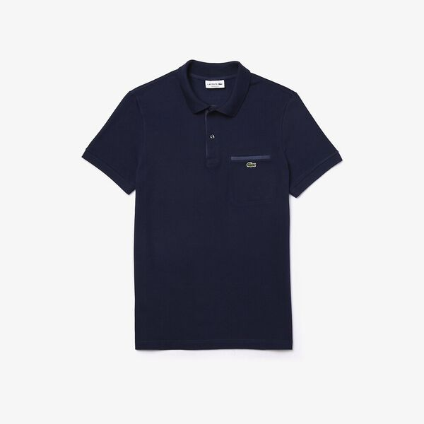 Men's Lacoste Regular Fit Contrast Accents Cotton Piqué Polo Shirt, MARINE, hi-res
