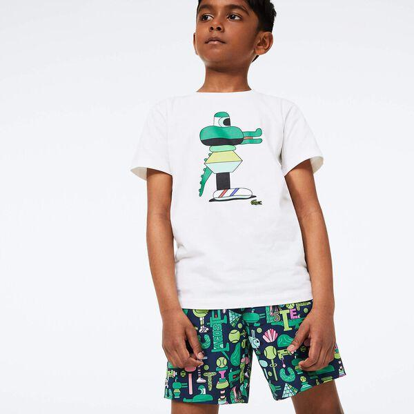 Boys' Lacoste x Jeremyville Light Print Swim Shorts