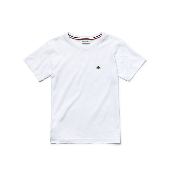 Boy's Basic Crew Neck Tee, WHITE, hi-res