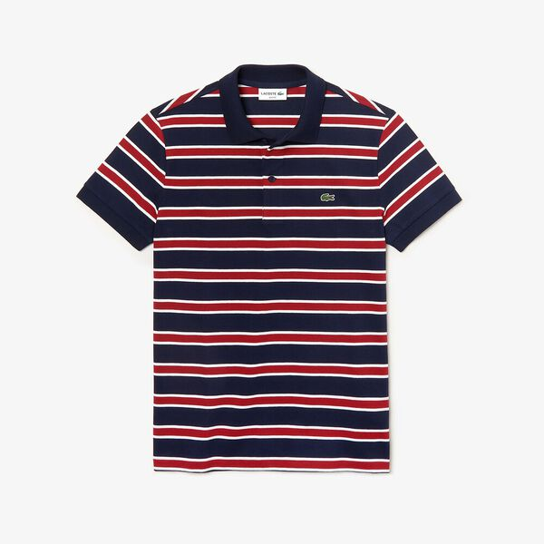 Men's Striped Slim Fit Stretch Polo, NAVY BLUE/WHITE-ALIZARIN, hi-res