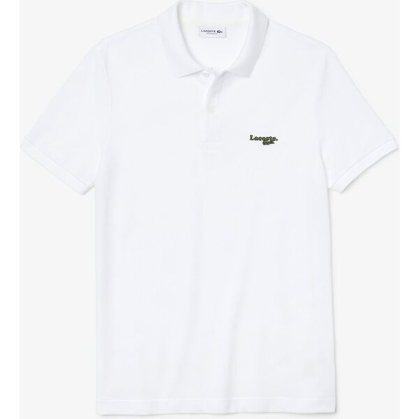 Men's Lacoste Regular Fit Solid Cotton Piqué Polo Shirt With Badge, WHITE, hi-res