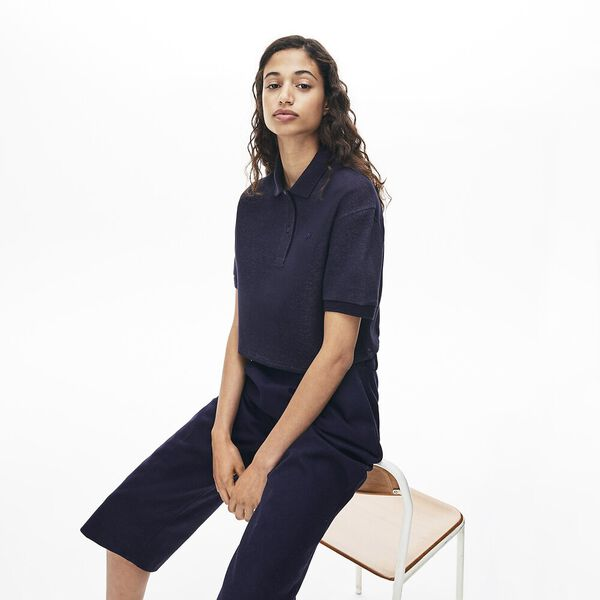 Women's Lacoste Motion Double Face Polo, NAVY BLUE, hi-res