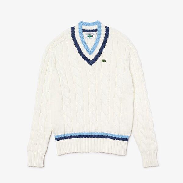 Unisex V-neck Striped Finishes Cable Knit Sweater, FLOUR/SCILLE-NATTIER BLUE, hi-res