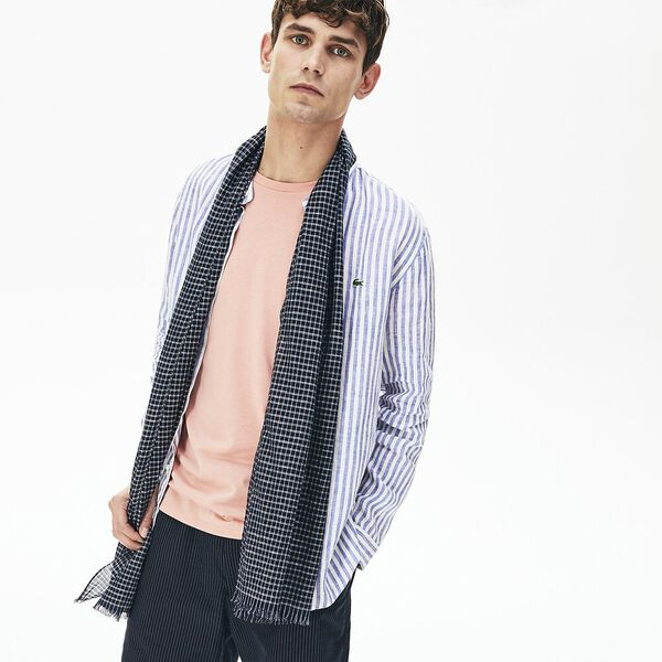 Men's Cotton And Linen Rectangular Check Scarf, NAVY BLUE/WHITE, hi-res