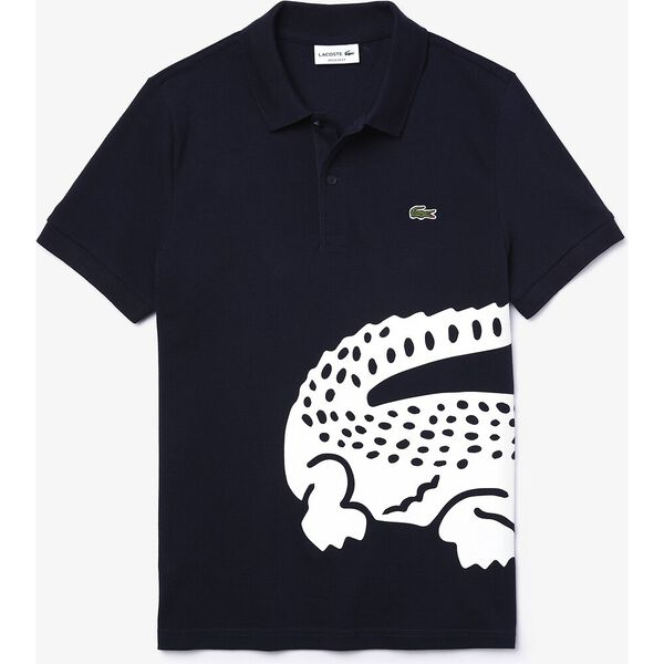 Men's Lacoste Oversized Crocodile Print Polo Shirt, MARINE, hi-res