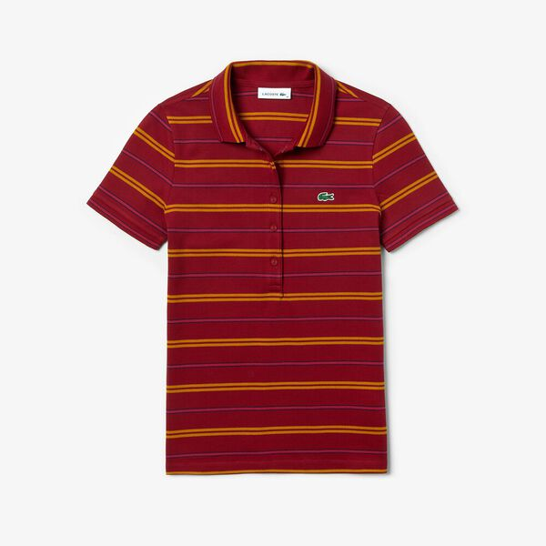 Women's Slim Striped Polo, BORDEAUX/ENZIAN-FAIRGROUND, hi-res