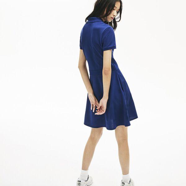 Women's Stretch Cotton Piqué Skater Polo Dress, METHYLENE, hi-res