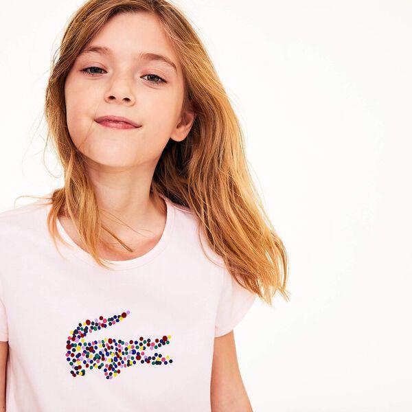 Girl's Polka Dots Girls Tee, FLAMINGO, hi-res