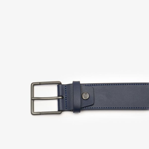 MEN'S CASUAL BELT 35 WELDED RAW STITCHED, NAVY, hi-res