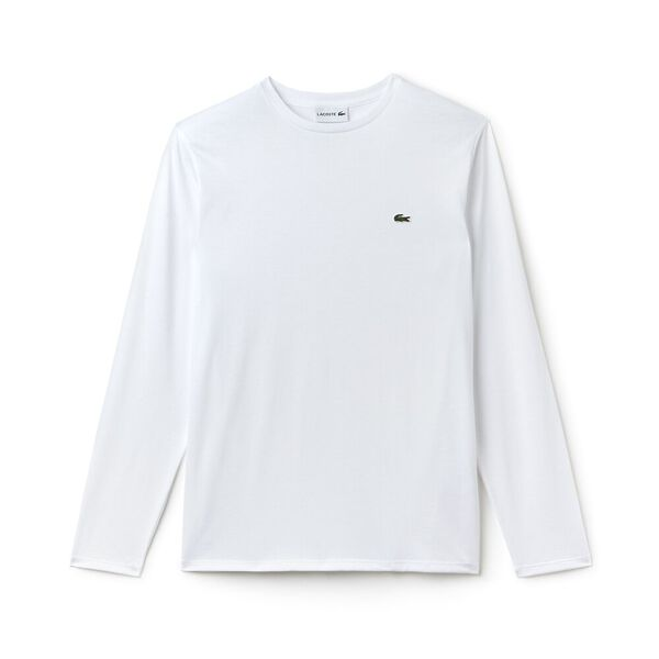 Men's Basic Crew Neck Long Sleeve Pima Tee, WHITE, hi-res