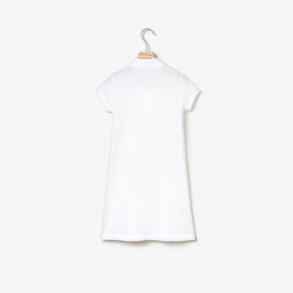 GIRLS POLO DRESS W POCKET, WHITE, hi-res