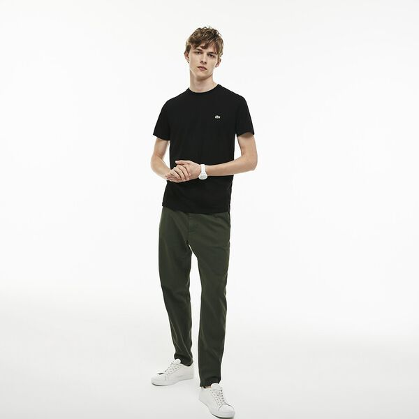 MEN'S BASIC CREW NECK PIMA TEE, BLACK, hi-res