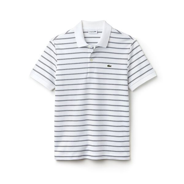 MEN'S INTERLOCK STRIPE POLO, WHITE/NAVY BLUE/WHITE, hi-res