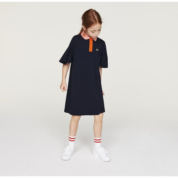 Girls' Flounced Sleeve Polo Dress
