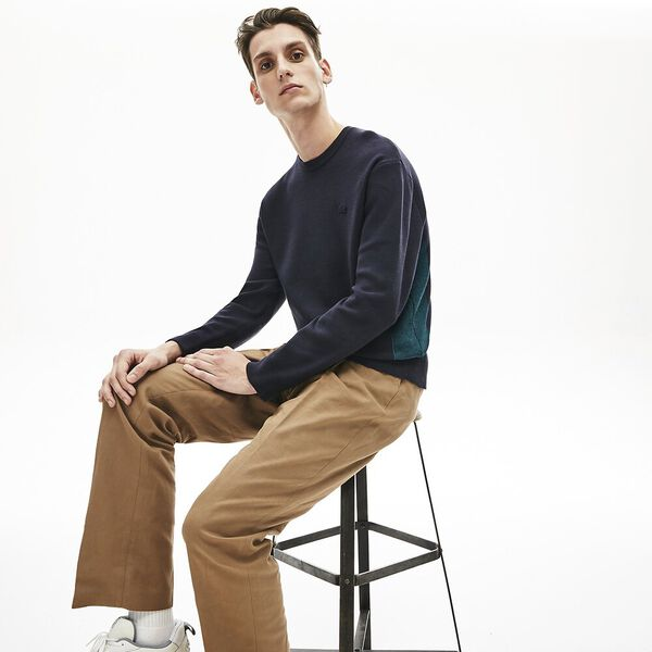 Men's Contrast Effects Knit Sweater, MARINE SOMBRE/LEGION, hi-res