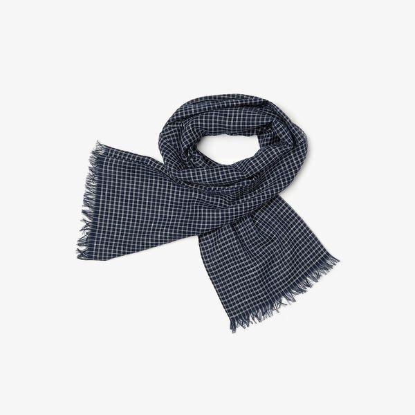 Men's Cotton And Linen Rectangular Check Scarf
