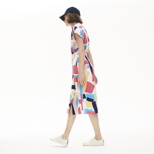 Women's Abstract-Print Shirtdress, WHITE/MULTICO, hi-res