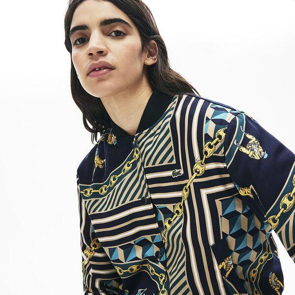 Women's Lacoste LIVE Light Scarf Print Bomber Jacket