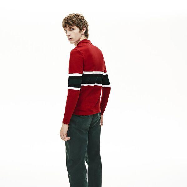 Men's Golden Week Long Sleeve Slim Fit Polo, ALIZARIN/MULTICOLOUR, hi-res