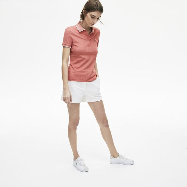 WOMEN'S SLIM FIT RIBBED COLLAR POLO, SALVIA/FLOUR, hi-res