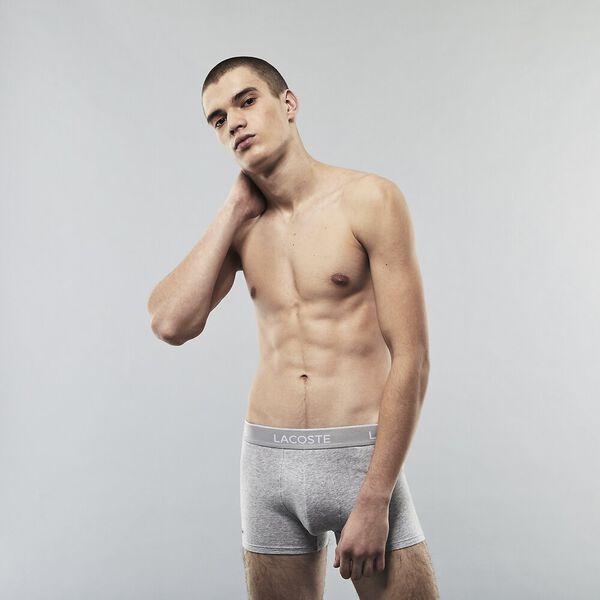 Mens Underwear  Trunk 3 Pack, BLACK/WHITE-SILVER CHINE, hi-res