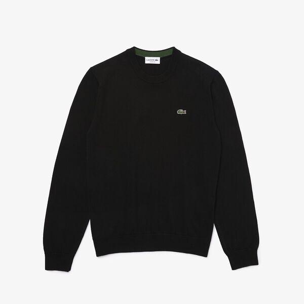 Men's Organic Cotton Crew Neck Sweater, BLACK, hi-res