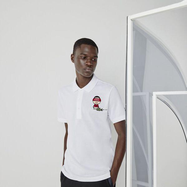 Men's SPORT Collab Youssef SY Cotton Piqué Polo Shirt, WHITE/NAVY BLUE, hi-res