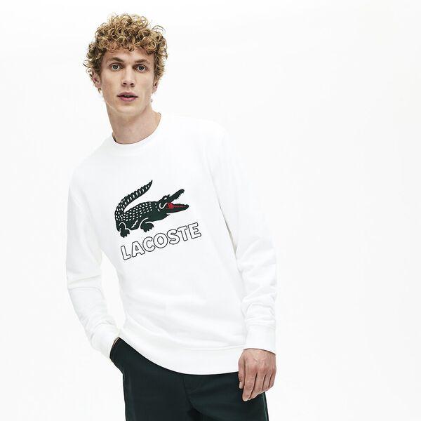 Men's Lacoste Croc Crewneck Sweat, WHITE, hi-res