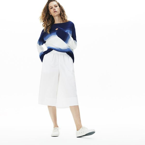 Women's Light Cotton Poplin Culottes, BLANC, hi-res