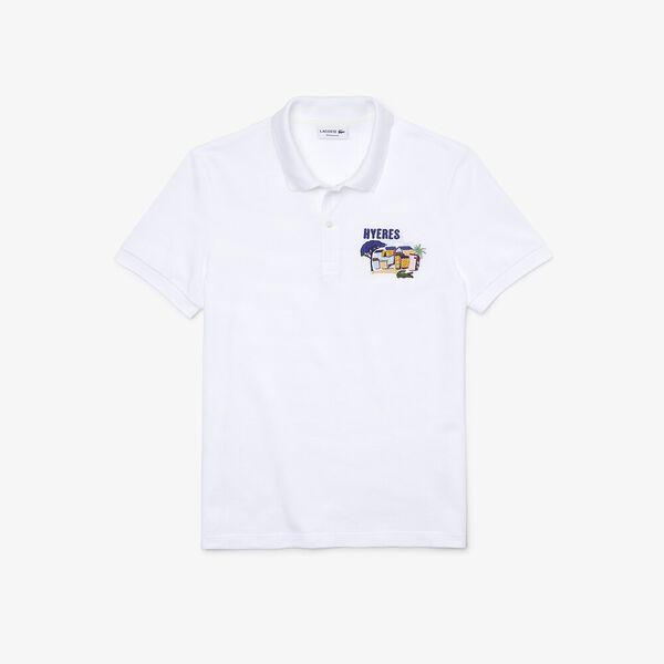 Men's Regular Fit Embroidered Cotton Piqué Polo, WHITE, hi-res
