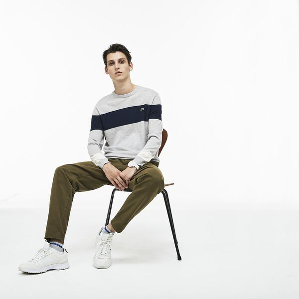 MEN'S COLOUR BLOCK WOOL SWEATER, PLUVIER CHINE/NAVY BLUE, hi-res