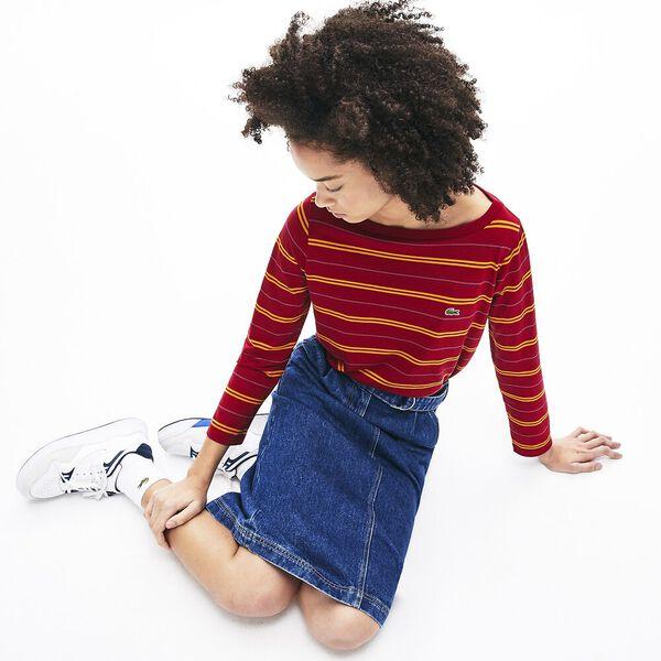 Women's Clean Stripes Long Sleeve Jersey Tee, BORDEAUX/ENZIAN-FAIRGROUN, hi-res