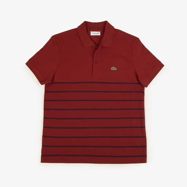 Men's Stripe Reg Fit 2 Ply Polo, ALIZARIN/NAVY BLUE, hi-res