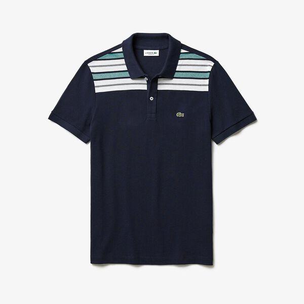 Men's Striped Pane Polo, MARINE/BLANC, hi-res