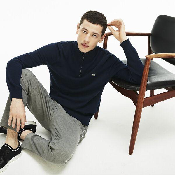 Men's Classic Half Zip Mock Neck Knit