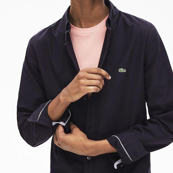Men's Classic Long Sleeve Slim Stretch Oxford Shirt, DARK NAVY BLUE, hi-res