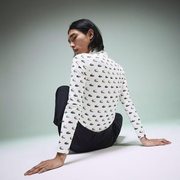 Unisex Fashion Show Iconics All Over Print Polo Neck Tee, MULTICOLOUR/GREEN, hi-res