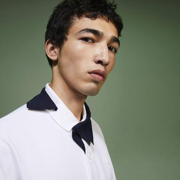 Men's Fashion Show Iconics Jacquard Collar Polo, WHITE/NAVY BLUE, hi-res