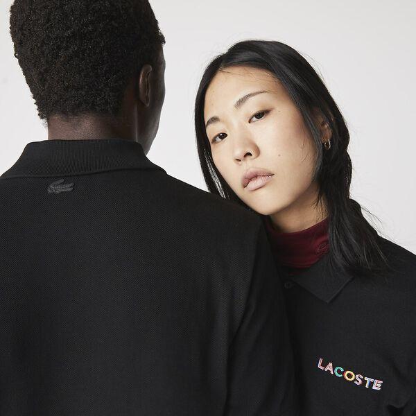Unisex LIVE Loose Fit Colorblock Polo, BLACK, hi-res