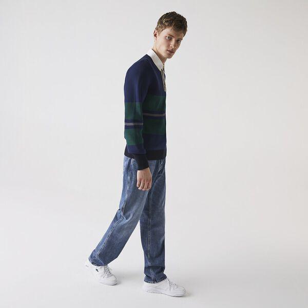 Men's Loose Cut Five-Pocket Cotton Denim Jeans, WASHED DEEP MEDIUM, hi-res