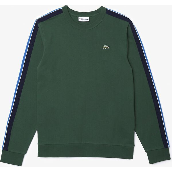 Men's SPORT Contrast Bands Fleece Sweatshirt, GREEN/SILVER CHINE-UTRAMA, hi-res