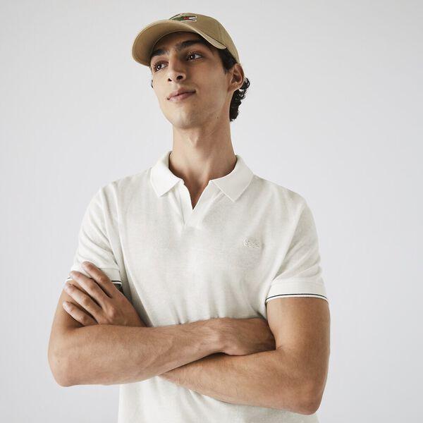 Men's Tunisian Collar Linen And Cotton Regular Fit Polo Shirt, PIN, hi-res