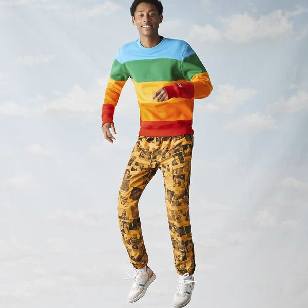 Men's Lacoste x Polaroid Color Striped Fleece Sweatshirt