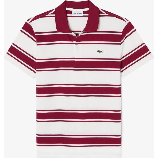 Men's Striped Stretch Cotton Piqué Slim Fit Polo, BORDEAUX/FARINE, hi-res